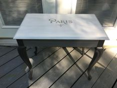 Table painted with Missouri Limestone Paint's January/Winter Gloves Wash, Sunday Silver, and Gray Goose
