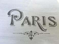 Paris stenciled with Sunday Silver chalk-based paint.